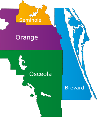 Orange, Osceola, Brevard, and Seminole Counties.